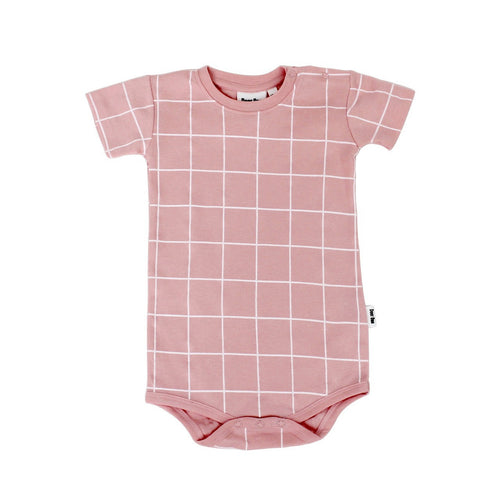 Peach Grid Short Sleeve Organic Romper