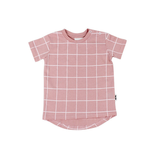 Peach Grid Short Sleeve Drop  Back T-shirt