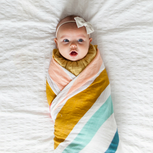 Rainbow muslin cotton swaddle australia