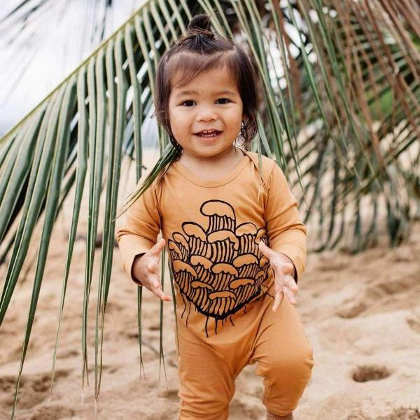 Rust Romper Surf wear wave print
