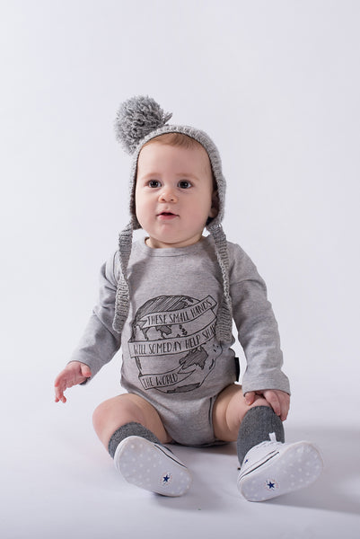 Inspirational Organic Print Grey Marle Baby long sleeved Romper