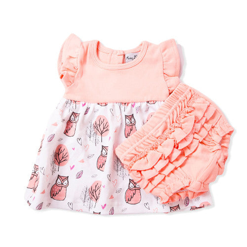 Woodland Owl Baby Dress & Ruffle Bloomers
