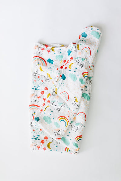 Unicorn colourful muslin cotton swaddle