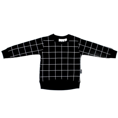 Black Grid Baby Pullover