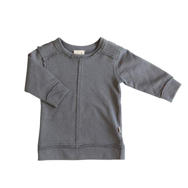Toddler Fleece Organic Cotton Jumper Sweatshirt Pullover Dark Grey