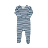 Blue striped organic cotton sleepsuit romper