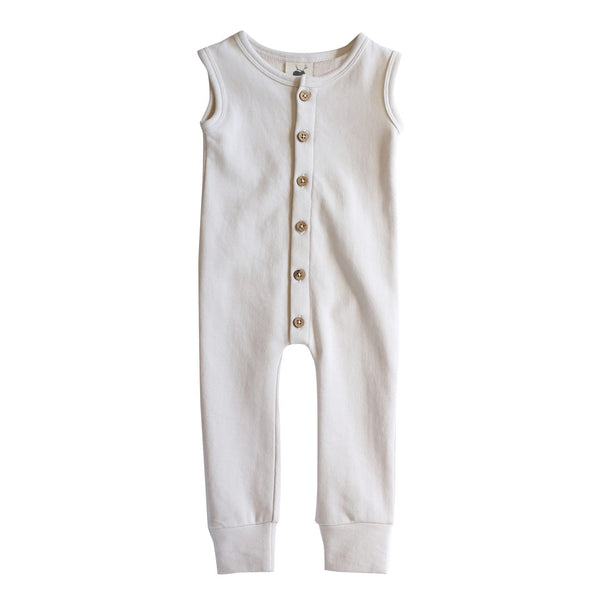 Buck and Baa Organic Cotton Fleece Toddler Jumpsuit Milk
