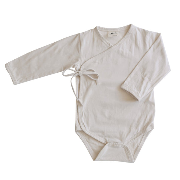 Buck and Baa organic cotton kimono romper bodysuit milk
