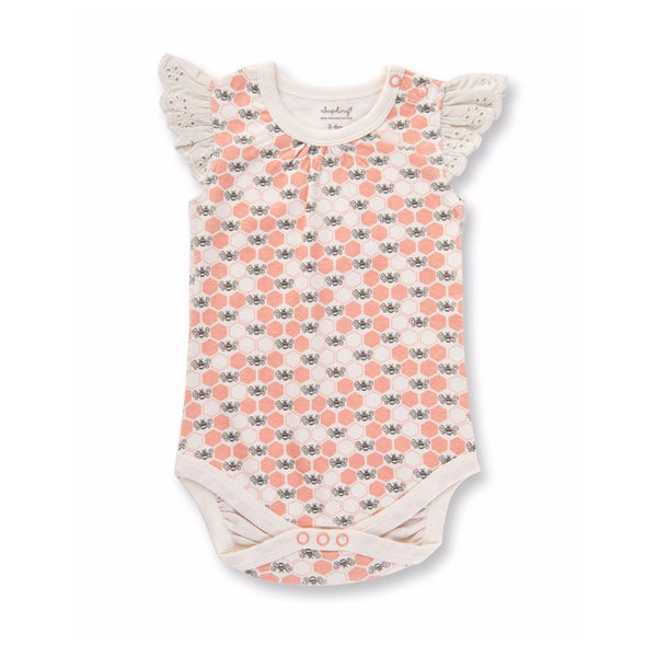 Peach Blossom Bees Lace Bodysuit