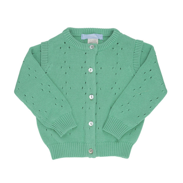 Organic Cotton knit baby cardigan in green