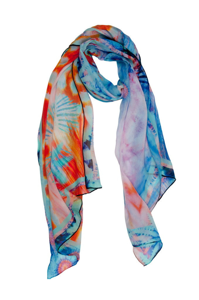 "Sea Fire Reef Sunset Scarf. The orange glow of sunset and the brightness of tropical fish combine to give this luxurious 100% silk scarf its unique glow. Team with a Coral & Co Kimono Jacket, Slimline Long Sleeveless Jacket, Mid-length or Long Length Dress, Long Line Tunic Top, Skirt or Kaftan for the color coordinated Coral & Co Look. One Size Fits All. Generous sized rectangle shaped scarf. Length: 66"" 175cm. Width: 25 1/2"" / 65cm. Fabric: 100% Silk Chiffon 8mm. Country of Origin: China. Designed in Australia. Model is 172cm/5'7.5"" tall: Bust: 105cm/41.5"", Waist: 90cm/35.5"", Hips: 115cm/45.5"". Product Code: CWS16A0001P1-7535"
