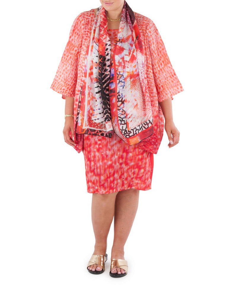 "The delicate hues of coral bring a soft gentle glow, day or night, to this sophisticated and versatile cover-up that will add confidence and glamour, adding a finishing touch to that special outfit or just that little extra warmth on a cool day or evening  A cover-up that will add confidence and glamour, adding a finishing touch to that special outfit or just that little extra warmth on a cool day or evening.  Try teaming with a Coral & Co Mid-length or Long dress, Long Line Top, Box Tee or one of our luxurious Silk Scarves, for the color coordinated Coral & Co Look. Oversized style, cut to be worn loose.  Elbow length sleeve, Centre opening.  Length from shoulder to hem approx. 28 1/4"" / 72cm.  Body Contouring Slimline permanent micro pleating  Fabric: 100% Permanent Pleated Polyester Knit, Machine Washable, Non-iron.  Country of Origin: China / Australia.  Designed and Made in Australia.  Model is 172cm/5'7.5"" tall: Bust: 105cm/41.5"", Waist: 90cm/35.5"", Hips: 115cm/45.5""  and is wearing a size 16.    Product Code: CWS16J0002-3235"