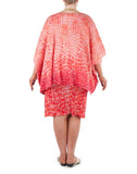 The delicate hues of coral bring a soft gentle glow, day or night, to this sophisticated and versatile cover-up that will add confidence and glamour, adding a finishing touch to that special outfit or just that little extra warmth on a cool day or evening  A cover-up that will add confidence and glamour, adding a finishing touch to that special outfit or just that little extra warmth on a cool day or evening.  Try teaming with a Coral & Co Mid-length or Long dress, Long Line Top, Box Tee or one of our luxurious Silk Scarves, for the color coordinated Coral & Co Look. Oversized style, cut to be worn loose.  Elbow length sleeve, Centre opening.  Length from shoulder to hem approx. 28 1/4