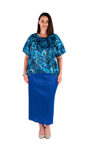 Hi-Lo Box Pleat Top -  BLUE RAY
