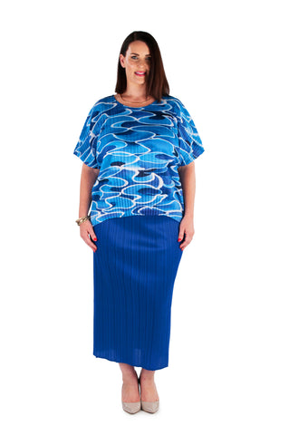 Hi-Lo Box Pleat Top -  BLUE PEARL