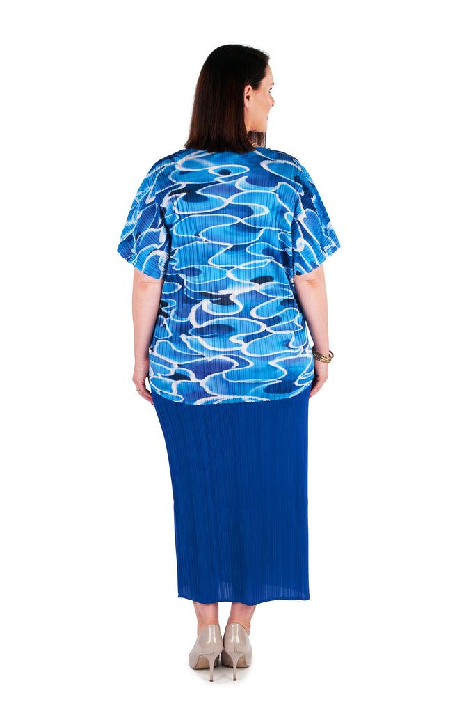 Hi-Lo Box Pleat Top - Water Reflections