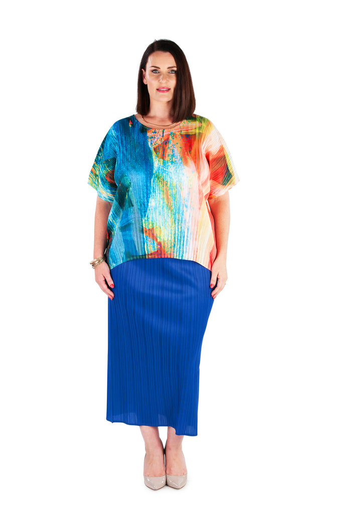 Hi-Lo Box Pleat Top -  JUNGLE GARDEN
