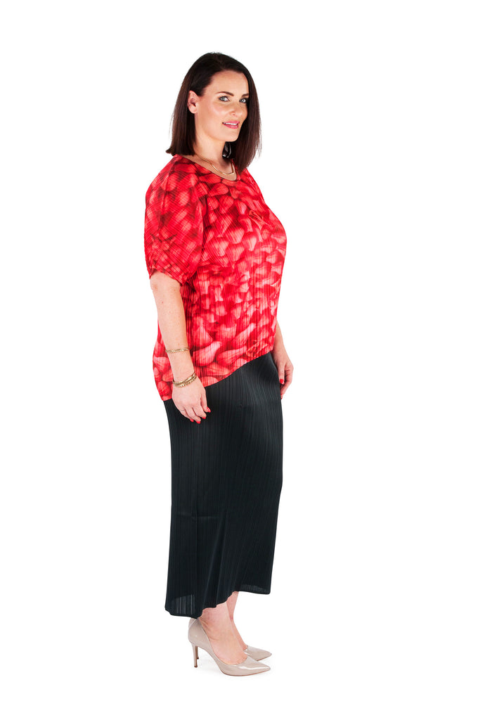 Hi-Lo Box Pleat Top -  CRIMSON BLOOM