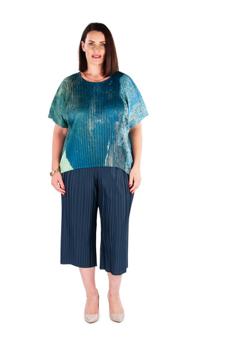 Hi-Lo Box Pleat Top -  Dusty Haze
