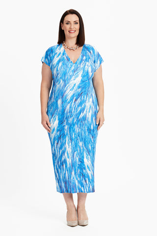 DRESS SINGLET LONG  -   BLUE FEATHERS