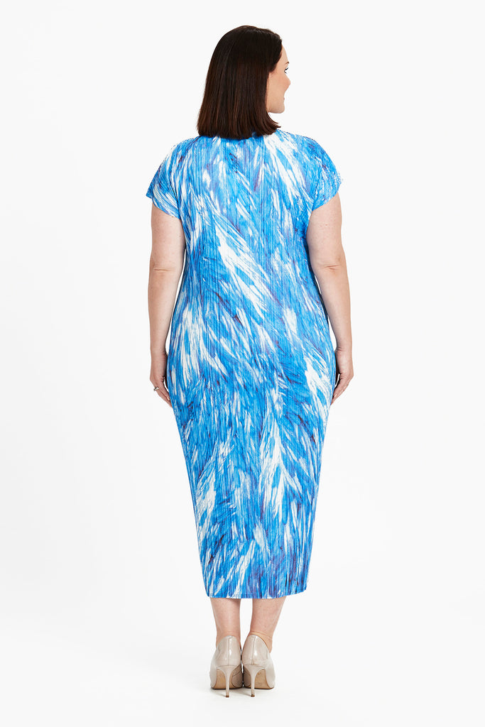 DRESS LONG  -   BLUE FEATHERS