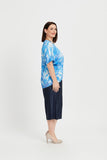 TOP HI-LO BOX PLEAT  -   BLUE FEATHERS