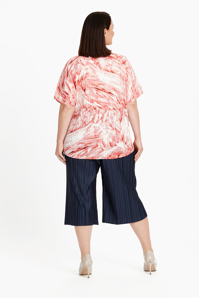 TOP HI-LO BOX PLEAT  -   CORAL FEATHERS