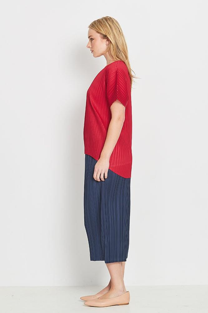 Lyrebird Hi-Lo Box Pleat Top - Rouge