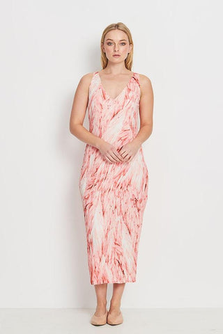 DRESS LONG  -   CORAL FEATHERS