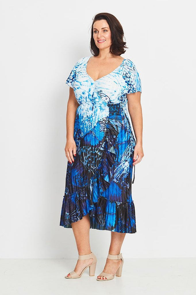 DRESS WRAP RUFFLED  -   FOREST BUTTERFLIES