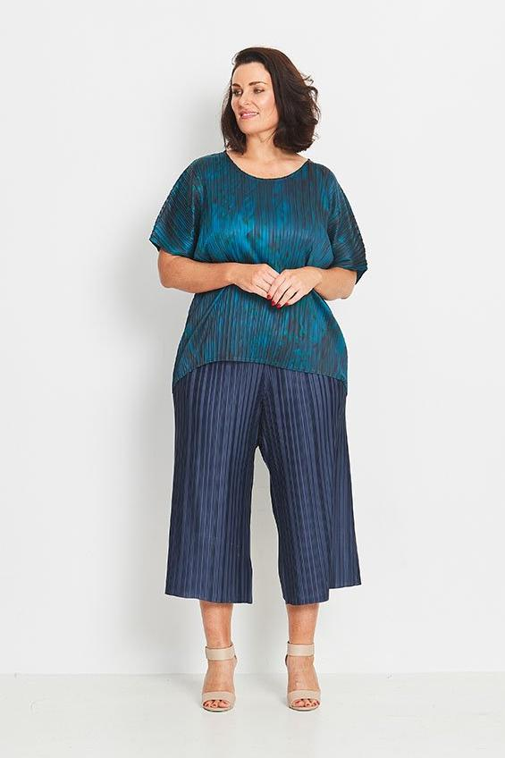 TOP HI-LO BOX PLEAT  -   EVENING TEAL