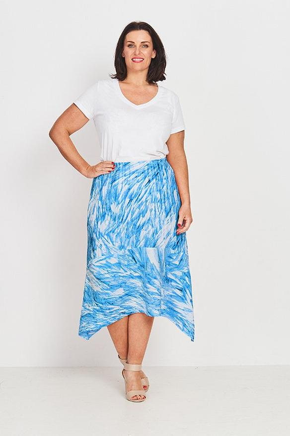 SKIRT A-LINE  -   BLUE FEATHERS