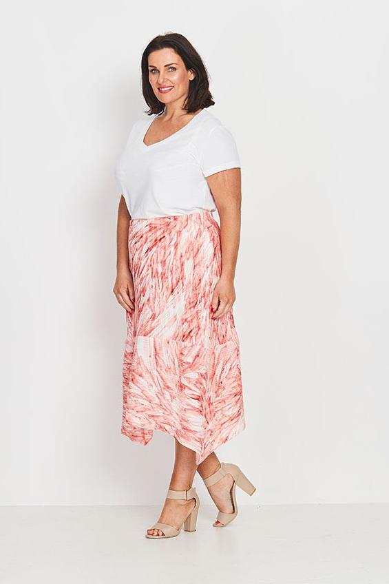 SKIRT A-LINE  -   CORAL FEATHERS