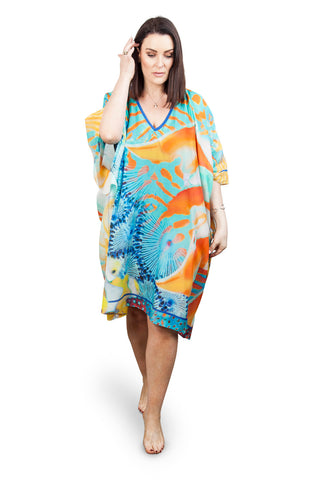 Short Kaftan (Silk 30%-Cotton 70%) Tropic Paradise