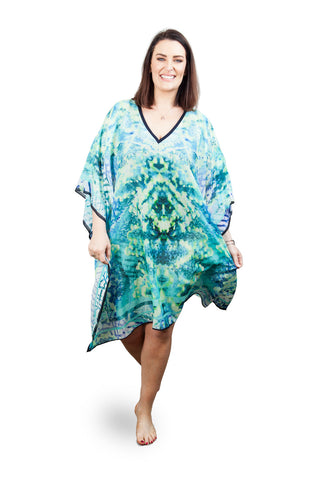 Short Kaftan (Silk 30%-Cotton 70%) Sea Fire