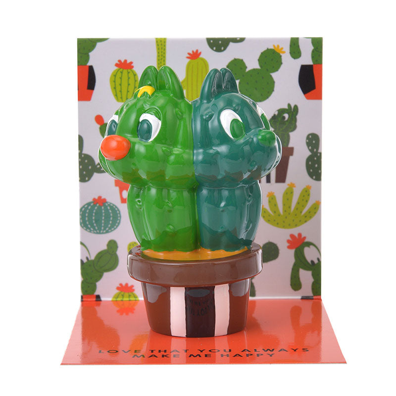 Chip & Dale Figure Memo Stand Cactus Disney Store Japan