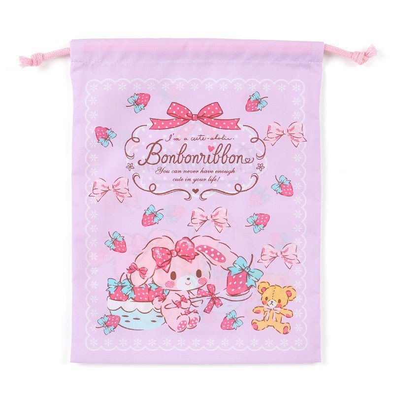 Bonbonribbon Drawstring Pouch M Strawberry Sanrio Japan