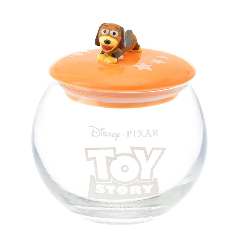 Toy Story Slinky Dog Canister Glass Round Disney Store Japan