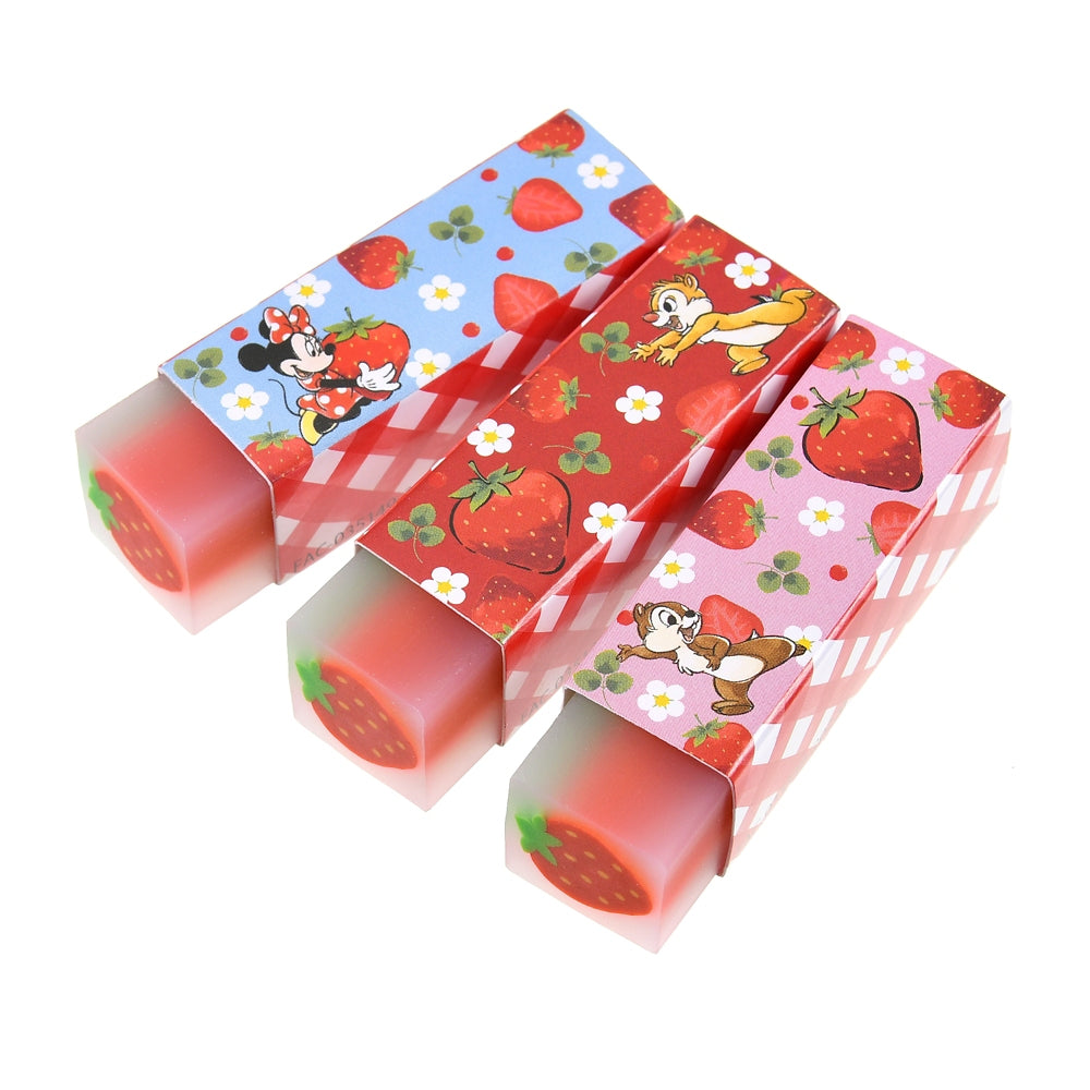 Minnie Chip Dale Eraser Set Strawberry Ichigo 2021 Disney Store Japan