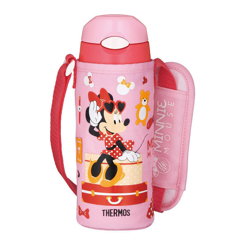 THERMOS Stainless Straw Bottle 500ml Pink Coral Disney Store Japan