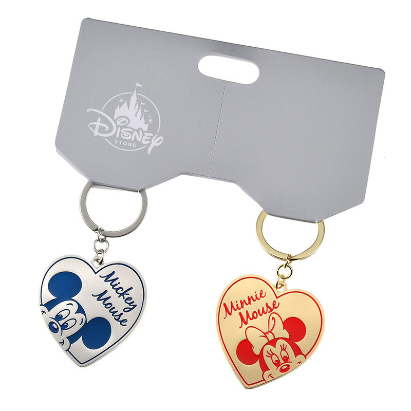 Mickey & Minnie Keychain Key Holder Heart Pair Disney Store Japan