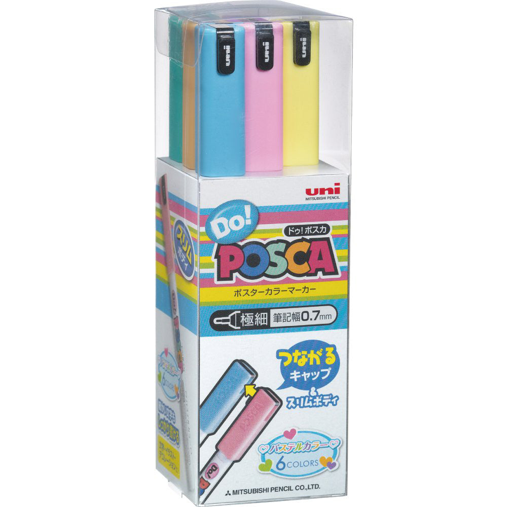 UNI MITSUBISHI POSCA Do! Marker Pen Extra Fine Pastel 6 colors PC1MDP6C Japan