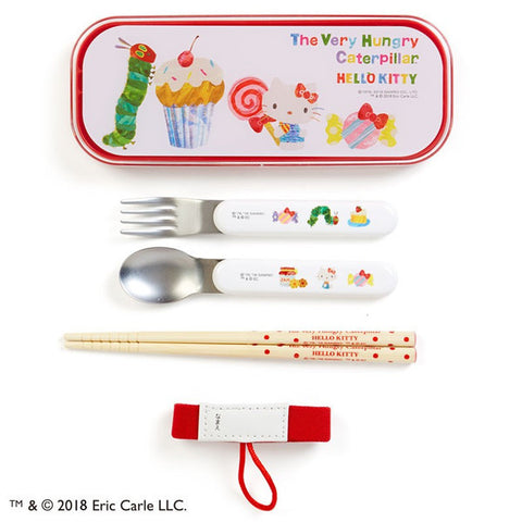 Hello Kitty The Very Hungry Caterpillar Lunch Trio Fork Spoon Sweet Sanrio Japan