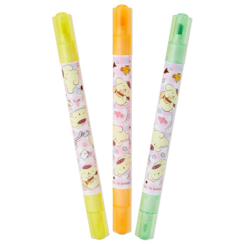 Pom Pom Purin Fluorescent Marker Pen 3pcs Set Sanrio Japan
