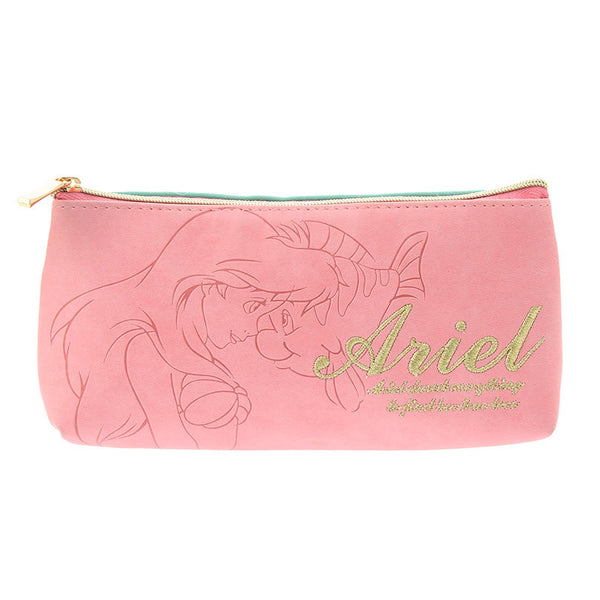 Ariel & Flounder Pen Case Pencil Pouch Emboss Disney Store Japan