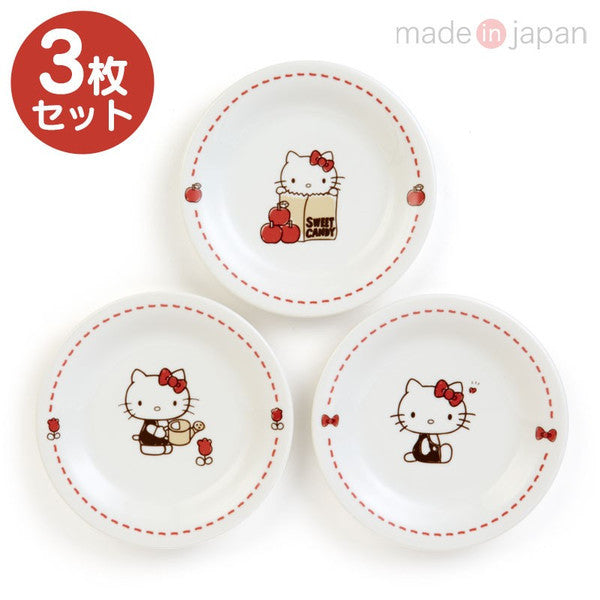 Hello Kitty Porcelain Plate 3pcs Set Sanrio Japan
