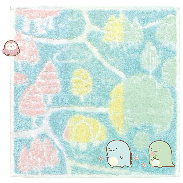 Sumikko Gurashi mini Towel Blue Went to Tokage's House San-X Japan