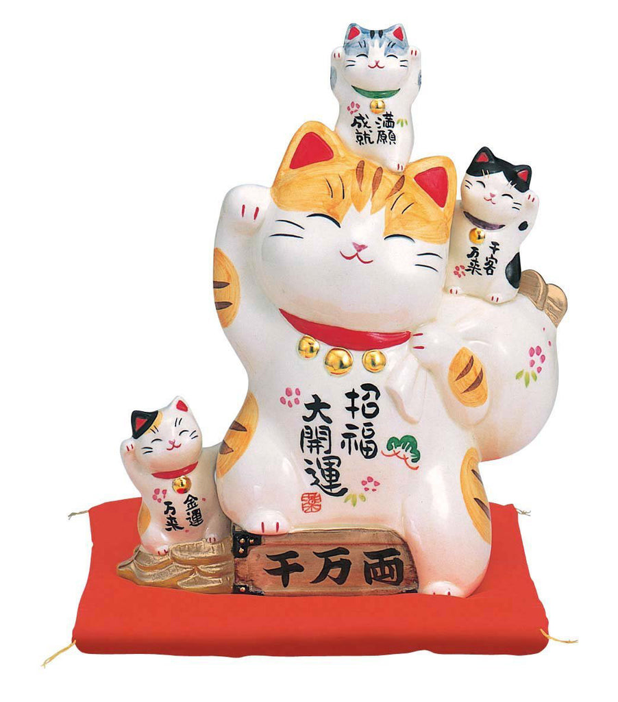 Japan Porcelain Beckoning Cat Maneki Neko Lucky Piggy Bank AM-Y7448 Right Hand