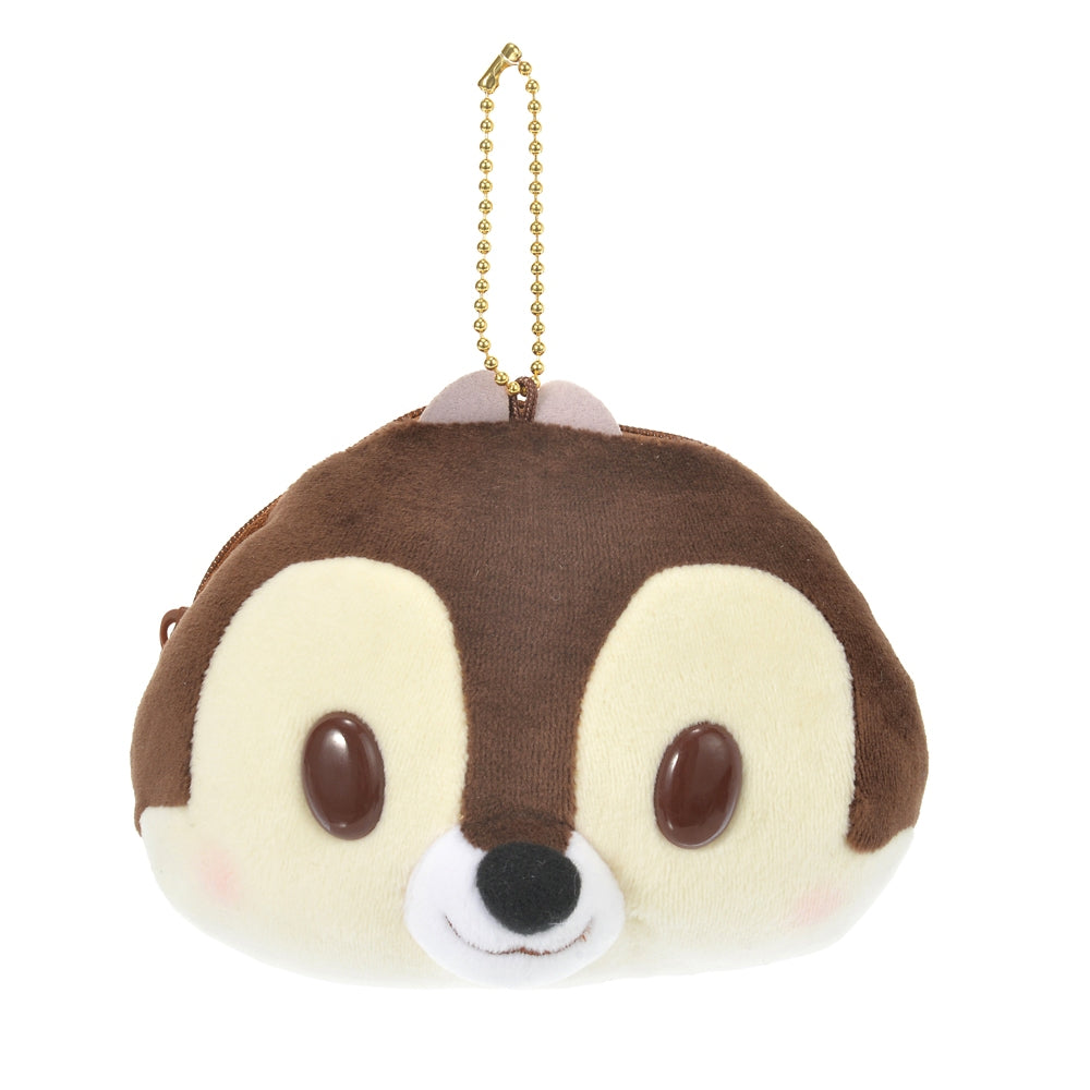 Chip Plush Keychain Pouch Mocchi Soft Face Disney Store Japan
