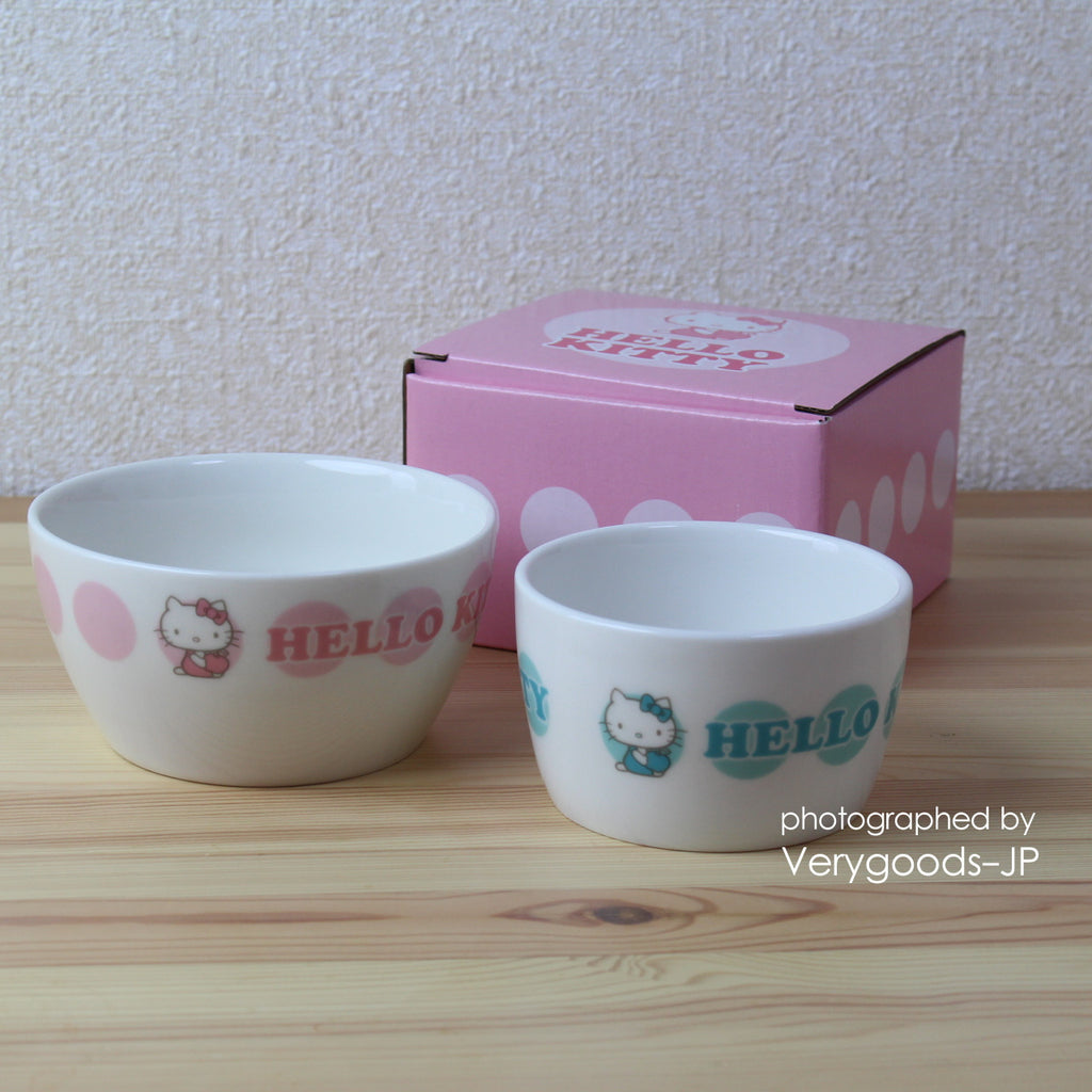 Hello Kitty Ceramics Bowl SET Sanrio Friendship Club Japan